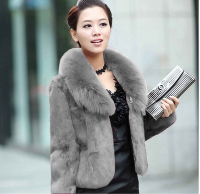 Leather And Fur Loose Coat Woman Short Fund Imitate Leather And Fur Overcoat Fox Hair Lead Baby Loose Coat Woman Rabbit's Hair