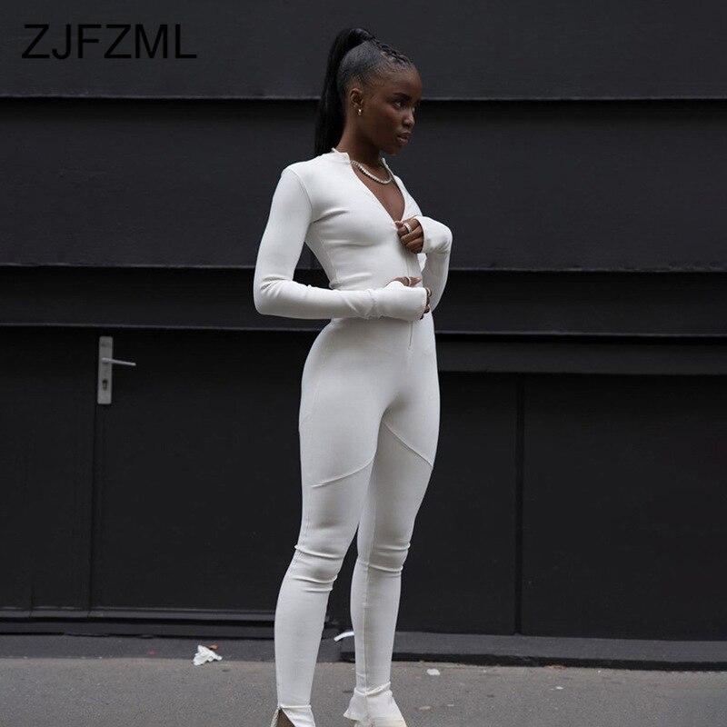 Zipper Front Elegant Jumpsuit Women Long Sleeve Solid Bandage Jumpsuit Ladies Round Neck Bodycon One Piece Plus Size Bodysuit