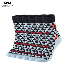 Cotton man socks 2020 spring summer men thin Triangle pattern 6pairs/lot UK SIZE 7-11 EUR 40-46 1007 VKMONY