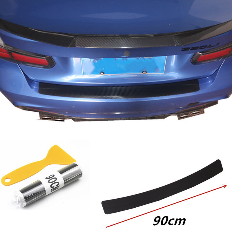 1pcs 90cm Rear Bumper Protection <font><b>Carbon</b></font> <font><b>Fiber</b></font> Sticker For VW Volkswagen <font><b>Golf</b></font> <font><b>7</b></font> MK7 MK6 MK5 POLO jetta tiguan Accessories image