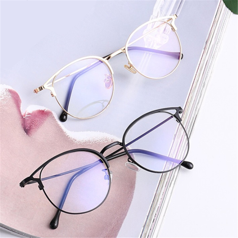 1 Pc New Fashion Anti Blue Light Round Cat Ears Eyeglasse Frame Computer Eye Protection Eyewear Optical Spectacle Glasses Unisex