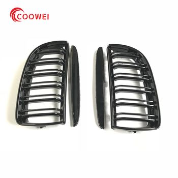 3 Series 2PCS Gloss Black Front Grille Grill Double Slat For BMW E90 E91 320i 323i 325i 328i Sedan 4 Door 2005 - 2012 image