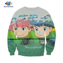 Unisex Sweatshirts/Zip Hoodie/Broek Kind Toevallige t-shirt Mannen Street wear T-shirt Ponyo on The Cliff 3D print Anime Harajuku t345(China)