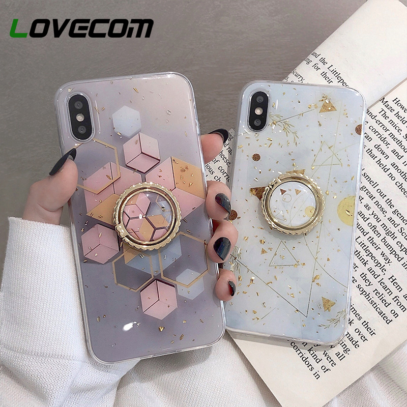 Gold Powder Geometric Marble Ring Holder Phone Case For iPhone 11 Pro Max XR X XS Max 7 8 6 Plus Case Soft Epoxy Phone Cover Bag      - AliExpress