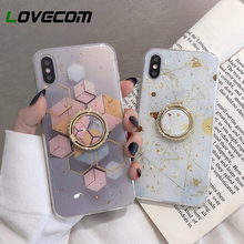 Gold Powder Geometric Marble Ring Holder Phone Case For