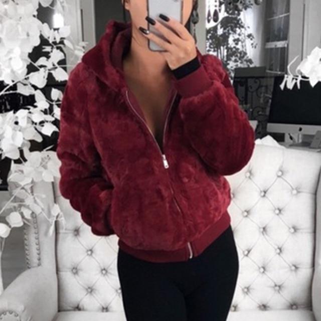 2020 New Faux Fur Women Coat With Hood High Waist Fashion Slim Black Red  Faux Fur Jacket Fake Rabbit Fur Coats 3