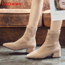 Lady Sexy Boots Stretch Sock Square Toe High Heels For Women Fashion Shoes Female 2019 New Fall Elegant Ankle