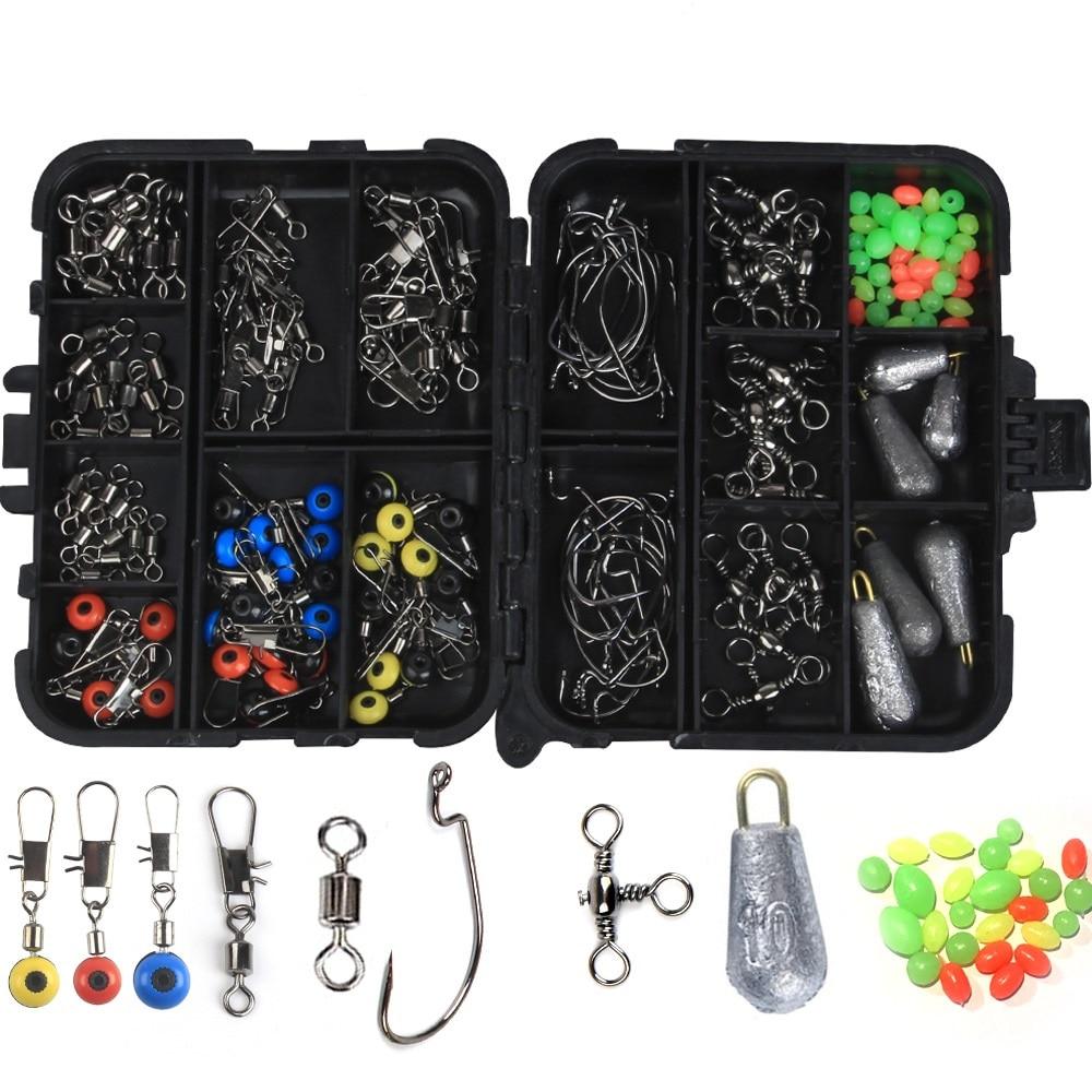 160pcs/box Fishing Accessories Kit Jig Hooks Fishing Sinker Weights Fishing Swivels Snaps With Fishing Tackle Fishing Tool Set|Fishing Tools| - AliExpress