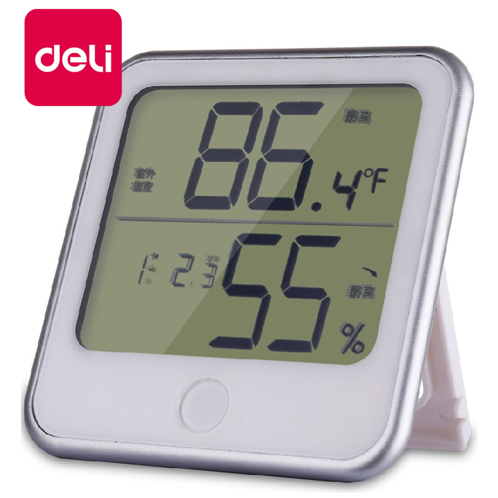 Deli 1PCS Electronic Thermometer and Hygrometer Home Indoor Alarm Clock Office High Precision 8959