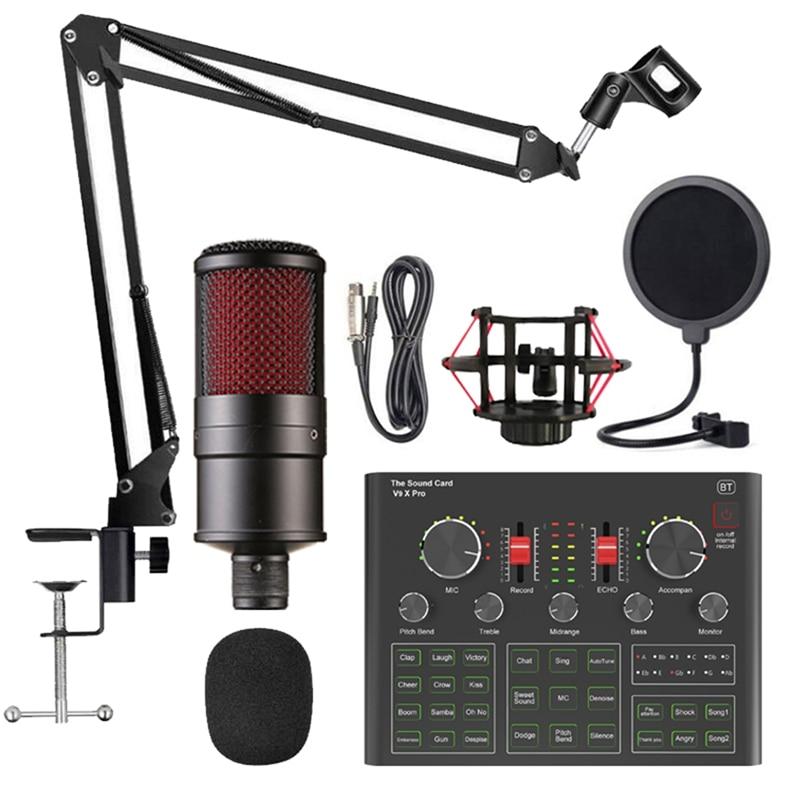 K16 Condenser Microphone Set with V9X PRO Live Sound Card, Scissor Arm, Shock Mount and Cap for Studio Recording