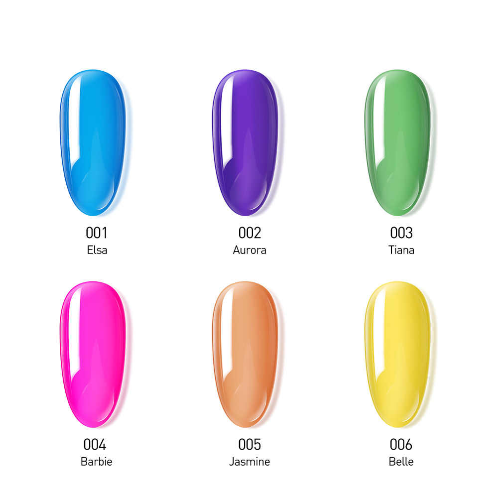Modelones 6 Pcs/lot Tembus Jelly Kuku Gel Polandia Warna-warni Uv Gel Lacquer Kuku Seni Rendam Off LED Gel Semi Permanen pernis