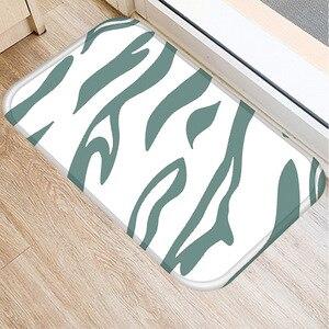 Image 5 - 40*60cm ירוק פסים רצפת מחצלת החלקה זמש שטיח מחצלת דלת מטבח סלון רצפת מחצלת בית חדר שינה דקורטיבי רצפת מחצלת