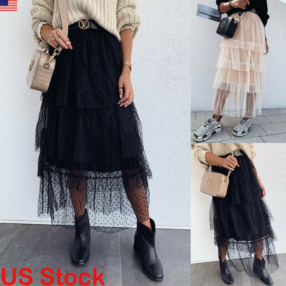 New Fashion Women Ladies Layers Tulle Dot Skirt Long Skirts Princess Girls Ballet Tutu Dance Skirt Black White