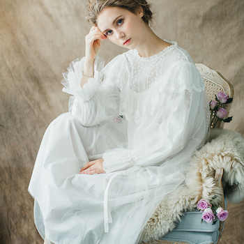 Maternity Sleepwear Pijama Retro Palace Nightgown Pregnant Women Lace Cotton Long Sleeved White Pajamas Dress for Pregnant CC591 - DISCOUNT ITEM  20% OFF All Category