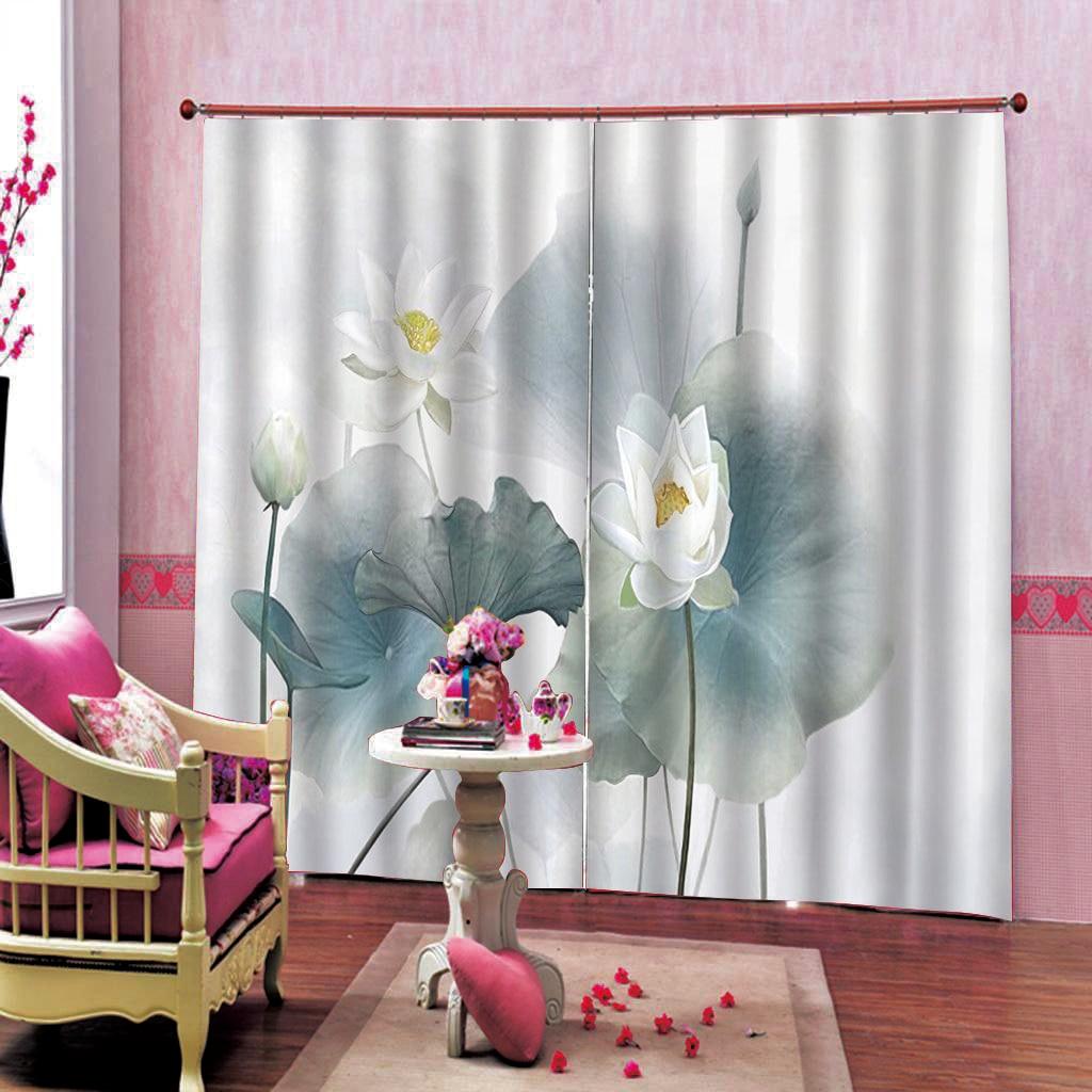 Прозрачный и простой китайский стиль листьев лотоса занавес для гостиной спальни на заказ любого размера - 4