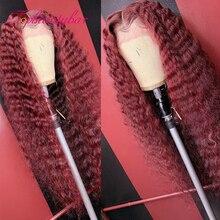 Темно-Красного цвета Вьющиеся парики с красной подсветкой Синтетические волосы на кружеве al парики 13x6 Синтетические волосы на кружеве пари...