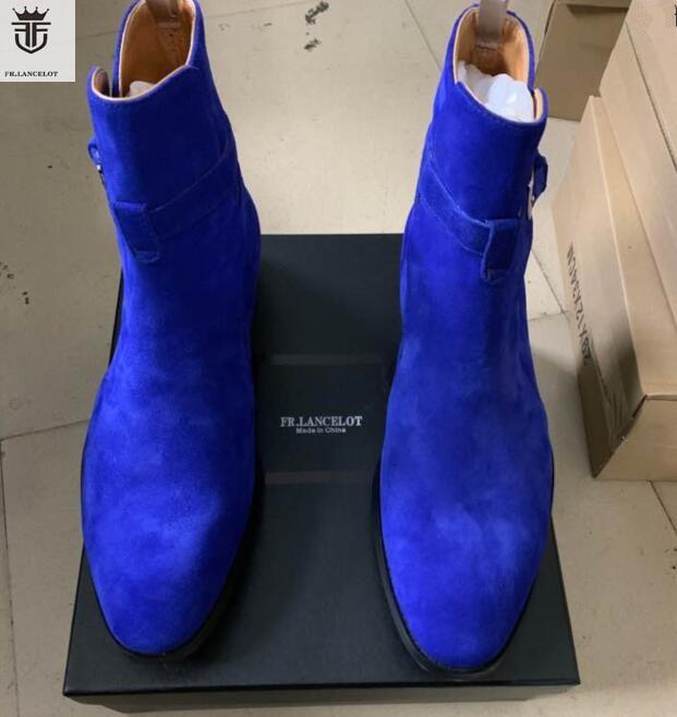 2020 FR.LANCELOT Blue Suede Top Leather Men Chelsea Boots Slip On Buckles  Shoes Men Ankle Boots Wholesales
