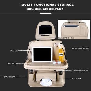 Image 2 - Couro do plutônio saco de almofada assento de carro volta organizador dobrável mesa bandeja de armazenamento de viagem dobrável mesa de jantar assento de carro saco de armazenamento