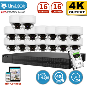 UniLook H.265+ 16CH 4K HD POE NVR Kit IP Security Camera system Outdoor Audio with 16 Dome Cameras 2.8~12mm Zoom HIK Connect
