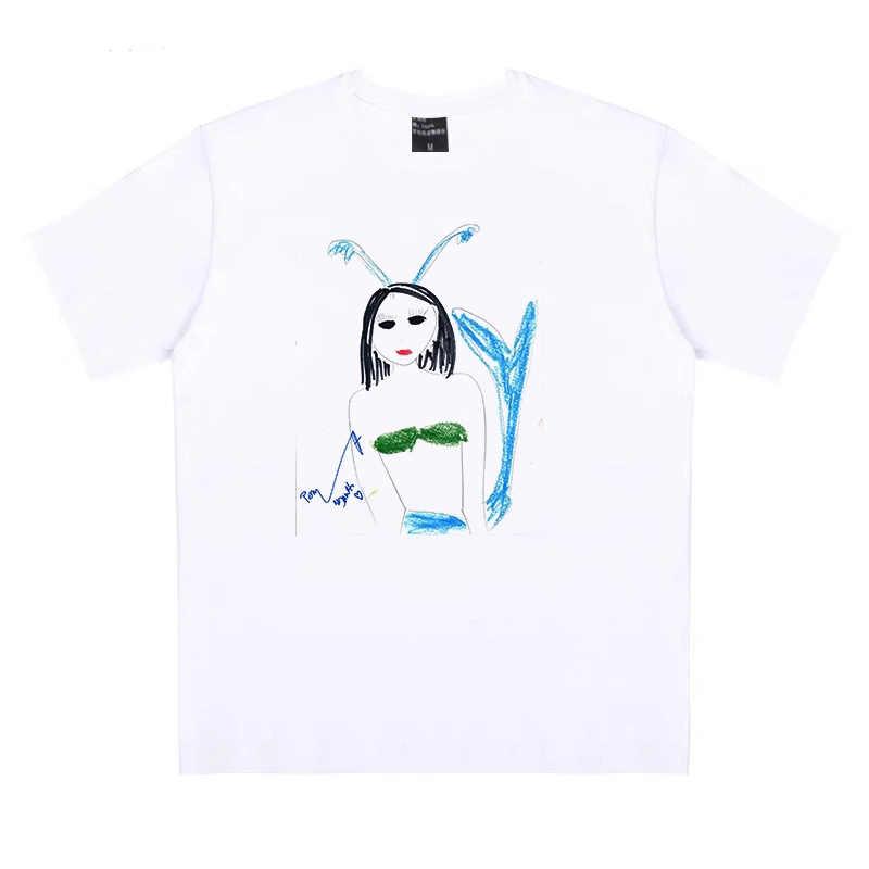 Harajuku Cartoon Tshirt Print Ulzzang Grafische T-shirt Vrouwelijke Kleding Vrouwen T-shirt Diffuse Wei Cartoon Pickel Grappige Nieuwe Mode