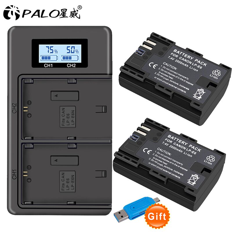 2x LP E6 LPE6 LP-E6 E6N Battery 2000mAh + LCD Dual Charger For Canon EOS 5DS R 5D Mark II 5D Mark III 6D 7D 80D EOS 5DS R Camera