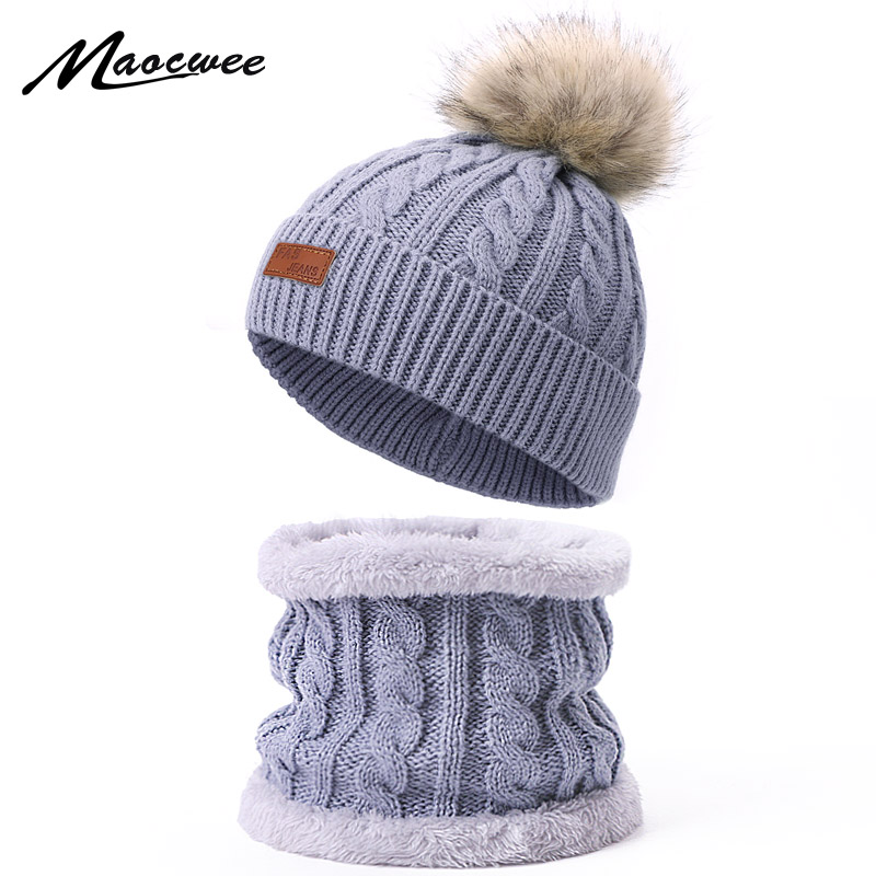 Scarf Hat Set Children Skullies Beanies PomPon Fake Ball For Knitting Autumn And Winter Warm Solid Color White Girl Outdoor