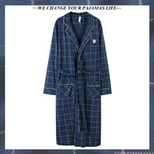 New style nightgown men's cotton long-sleeved pajamas 2021 spring and autumn summer loose plus size bathrobe home service