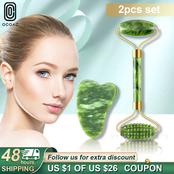2PC Face Massager Green Jade Rollers Facial Skin Care Tools Natural Stone Gouache Scraper For Face Beauty Roller Massagers Set 1