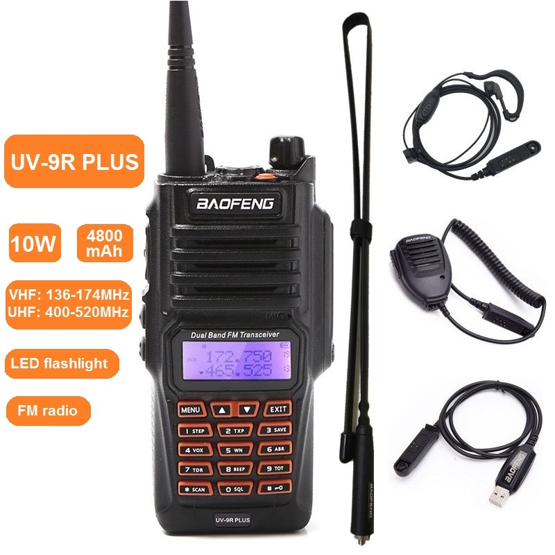 Baofeng UV-9R PLUS 10W Walkie Talkie Waterproof VHF UHF Long Range Marine CB Ham Radio Transmitter Transceiver Scanning 50km