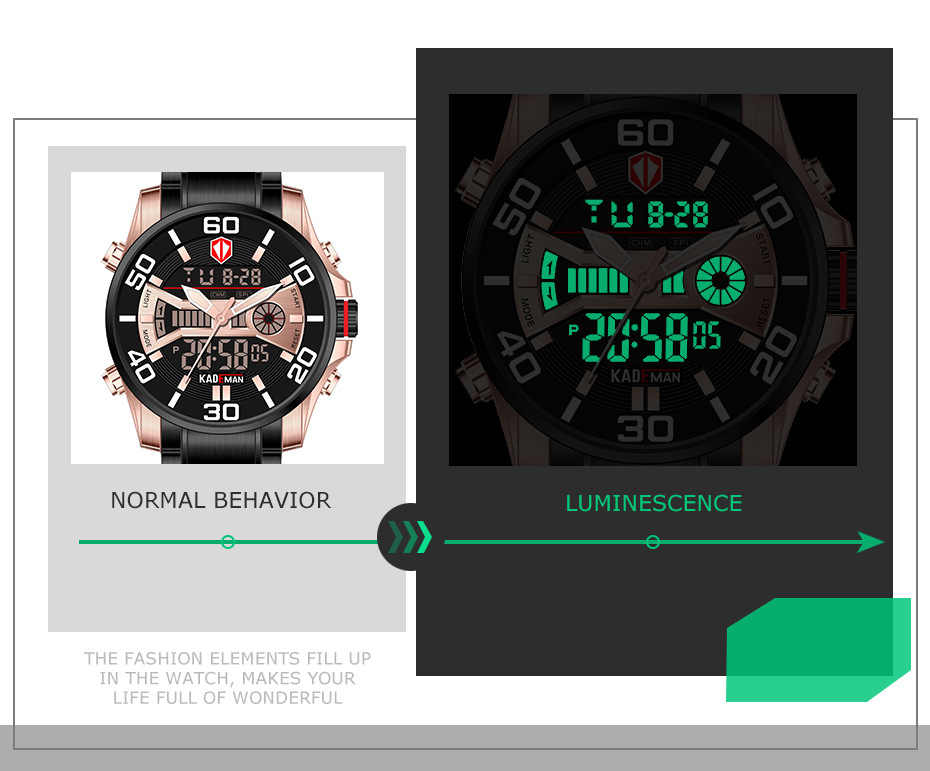 KADEMAN Mode Sport Dual Display Digitale Horloge Mannen Quartz Horloges Top Merk Waterdichte Militaire Volledige Steel Horloge