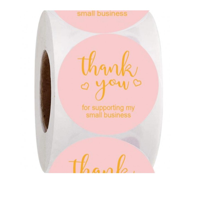 500pcs Pink Thank You For Supporting Small Business Stickers 1''Gold Round Paper Thank You Stickers Envelope Seal Label Stickers