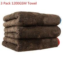 Serviette de nettoyage de voiture, 3 pièces, 1200GSM, séchage microfibre, polissage, accessoires en tissu pour lavage de voiture