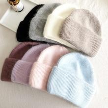 Casual Knitted Beanie Hat for Women Winter Hat Knitted Rabbit Fur Skullies Hat Winter Warm Bonnet Cap Female Hats for Girl Hat