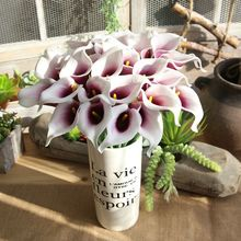 11pcs Simulation Calla Lily PU Real Touch Artificial Flowers Wedding Decoration Home Display Calla Lilies Fake Flowers Branch pu real touch artificial calla flower bonsai