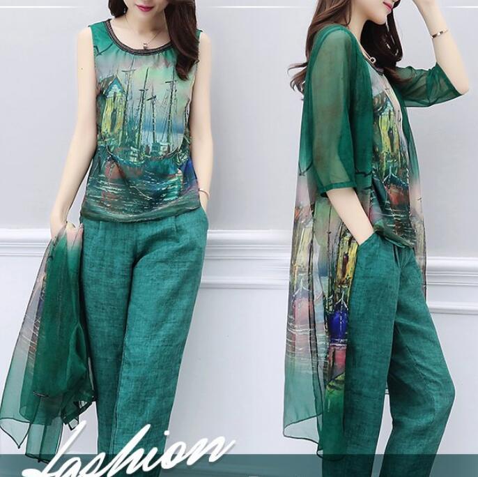 Chiffon Top Pants Suit For Mother of the Bride Women Spring Summer Formal Ladies Elegant 3 Piece Sets Clothes Pantsuit Plus Size