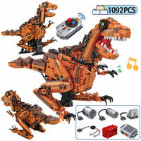 1092 stücke Legoing Stadt Technic RC Fernbedienung Tyrannosaurus Bausteine Jurassic Dinosaurier Ziegel Spielzeug Für Kinder Jungen