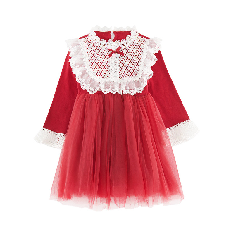 2020 Spring Autumn Teens Kids Cotton Lace Collor Dress for Baby Girls 3-13 years Dress Fashion Cute Long Sleeve Red Mesh Dresses (1)
