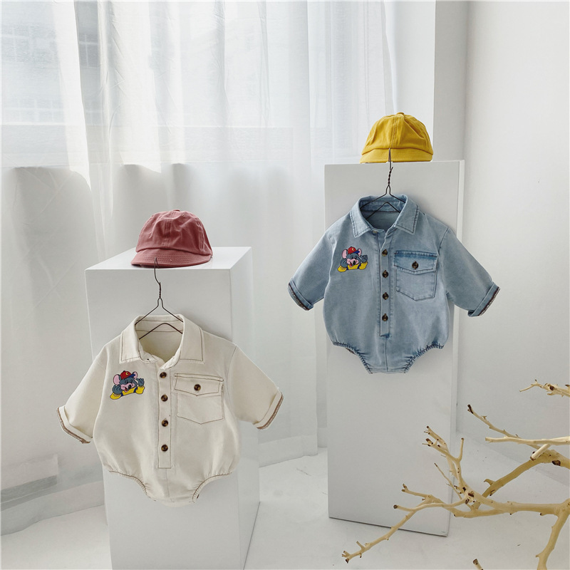 MILANCEL Baby Clothes Cute Cartoon Infant Boys Bodysuits Turn Down Collar Toddler Denim Outfit