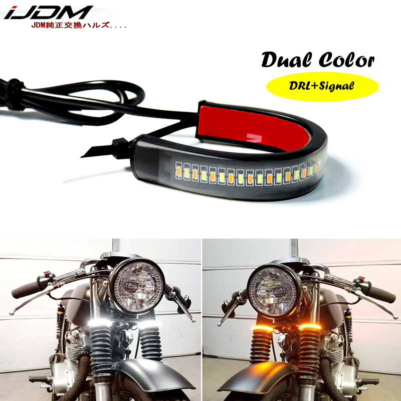 1Pc Universal LED Motorcycle Turn Signal Light  amp  DRL Amber White most motorcycle bike Fork Strip Lamp Flashing blinker 12V ATV