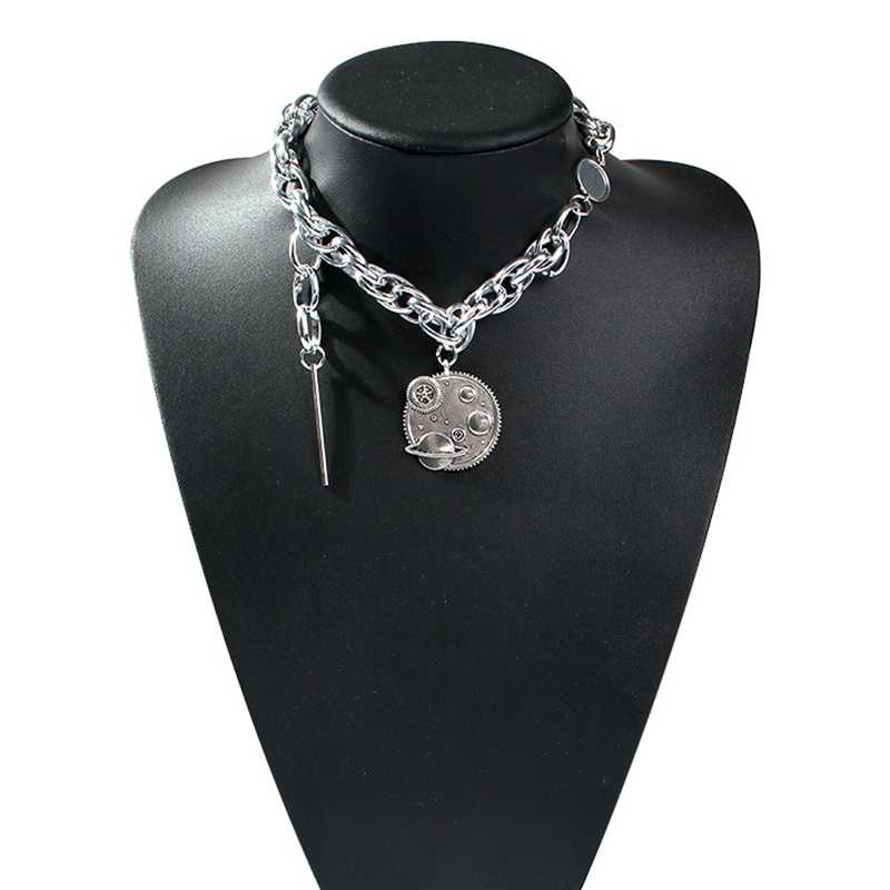 Hip Hop Planet Gear Silvery Metal Thick Chain Necklace for Women Men Girls Party Punk Jewelry