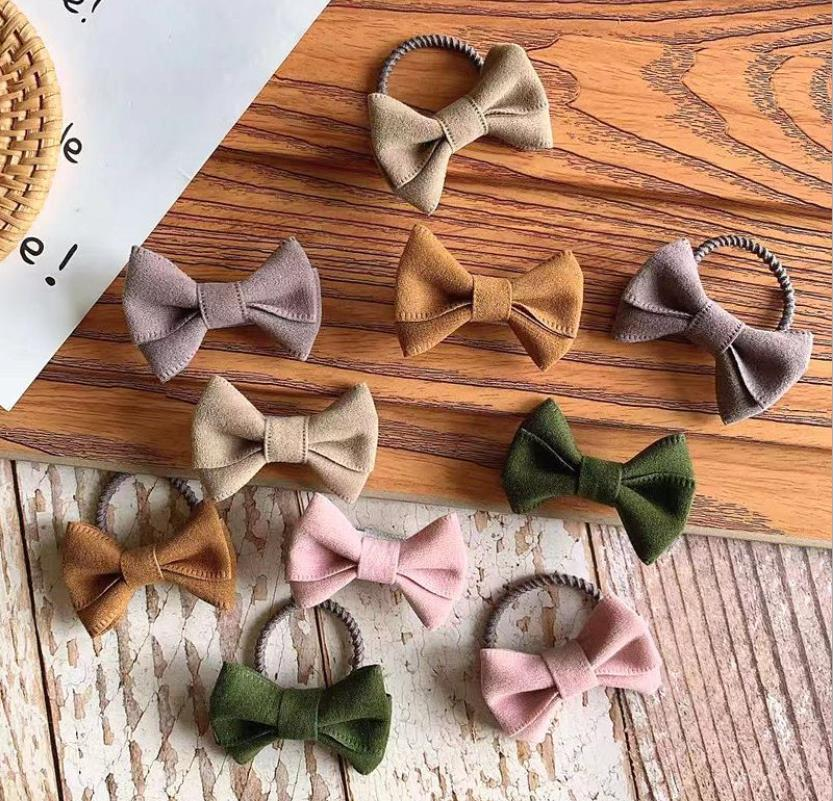 3-5pcs/set Kids Soft Leather Hair Bows Elastic Hair Ties Rubber Bands Hair Clips Girls Hair Accessories  School Headwear Q59
