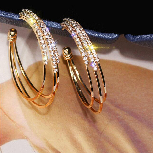 LATS Exaggerated Rhinestone Shiny Circle Hoop Earrings Large Round Earrings for Women 2020 Brincos Fashion Jewelry Accessories 4