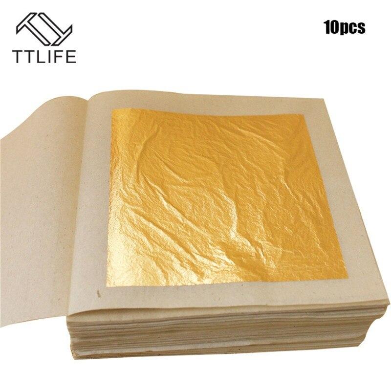 TTLIFE 10 Pcs 24K Gold Leaf Sheets For Art Crafts Design Gilding Framing Scrap Premium Golden Edible Gold Leaf Sheets Gold Foil
