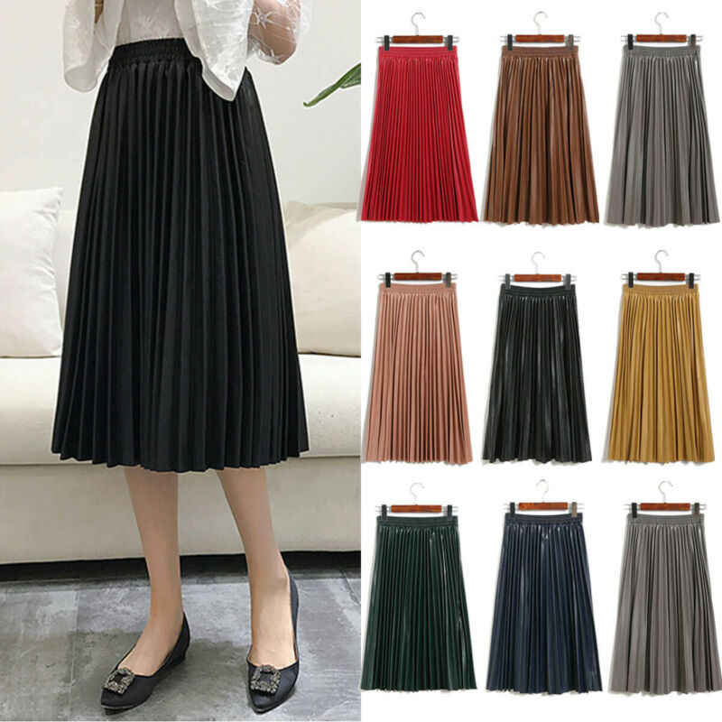 Autumn Fashion New PU leather Pleated Skirt Elastic High Waist All-match Casual Mid length Skirts Black Office Lady Slim Loose