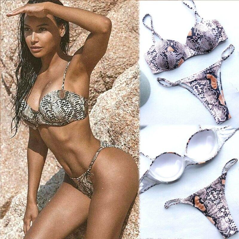 Women 2pcs Swimwear Padded Bra Triangle Bikini Set Push up Beach Bathing Suit UK