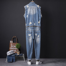 One Piece Overalls Men Sleeveless Denim Jumpsuits Rompers Casual Zipper Male Holes Ripped Jeans Pants Trousers Cowboys Plus Size(China)
