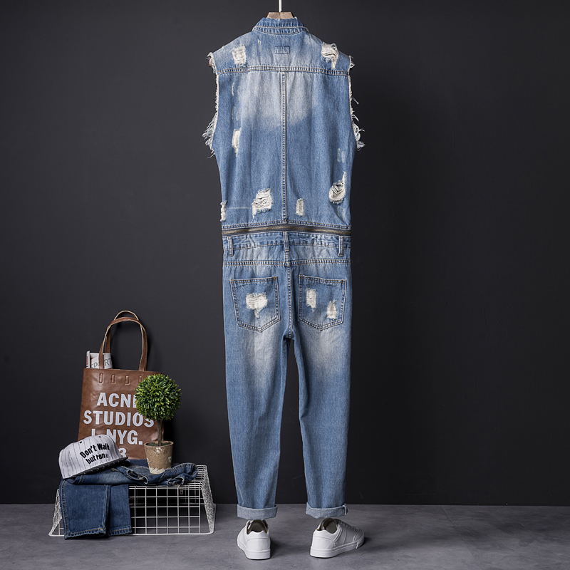 One Piece Overalls Men Sleeveless Denim Jumpsuits Rompers Casual Zipper Male Holes Ripped Jeans Pants Trousers Cowboys Plus Size