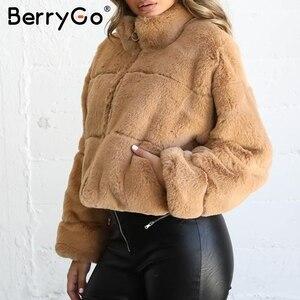 Image 2 - BerryGo Thick fluffy faux fur coat women Casual zipper soft female winter coats outwear Fake fur coat streetwear ladies jackets