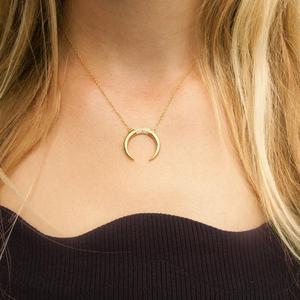 Image 2 - New 925 sterling silver cz Crescent Pendente Collana In Argento/Oro di Colore Cubic Zirconia CZ Islam Moon Star Dei Monili Delle Donne regalo