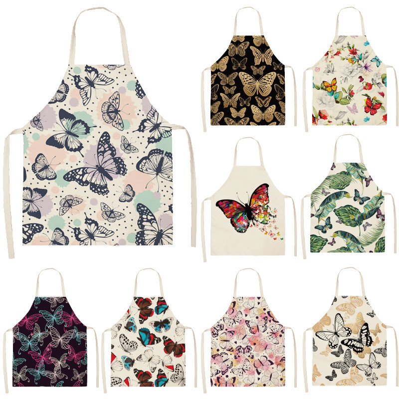 Women Cotton Linen Flower Letter Printed Aprons Kitchen Cooking Pinafore Baking